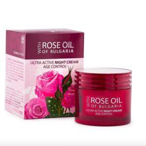 Multiaktive Tagescreme Age Control mit bulgarischem Rosenöl und Rosenwasser, 50 ml außergewöhnlich wirksame Creme auf der Basis eines Pflanzenkomplexes und 100% organisch reinem Öl aus der bulgarischen Rose.